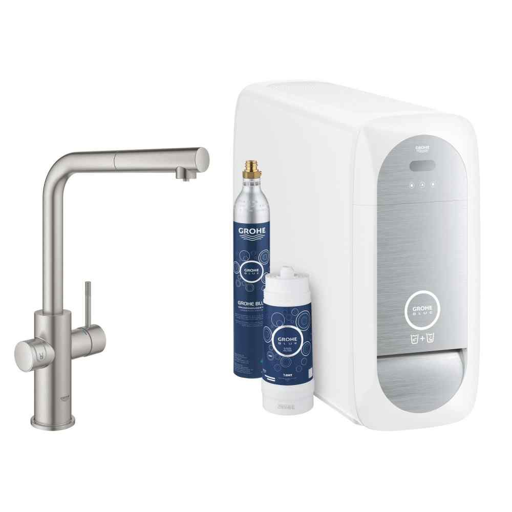 GROHE Blue Home - L-pip - Utdragbar - Supersteel Grohe Blue Home